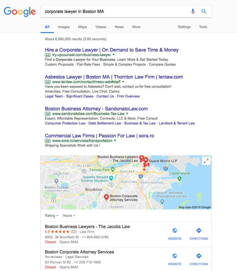 Boston lawyer Google search
