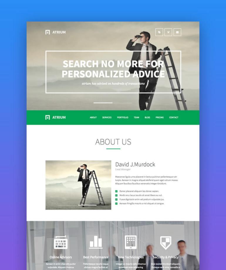 Atrium parallax law firm website template