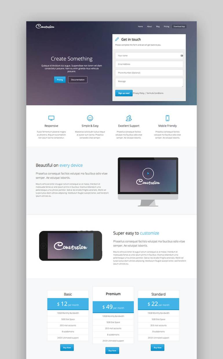 Conversion landing page template