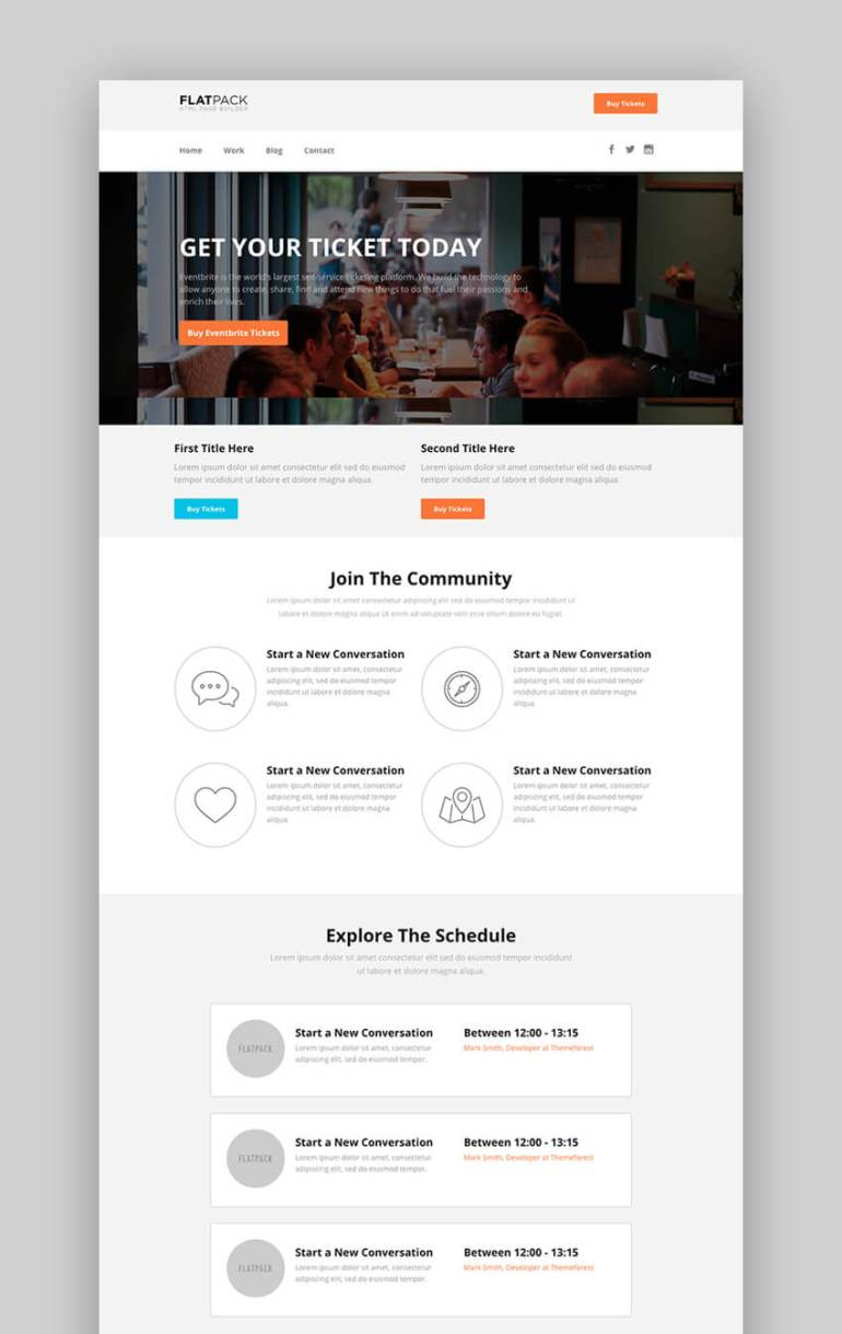 Flatpack landing page template pack