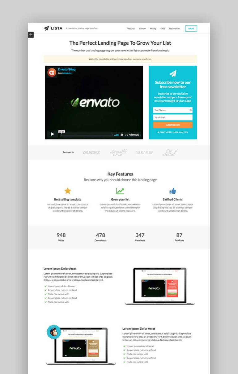 Lista newsletter landing page template