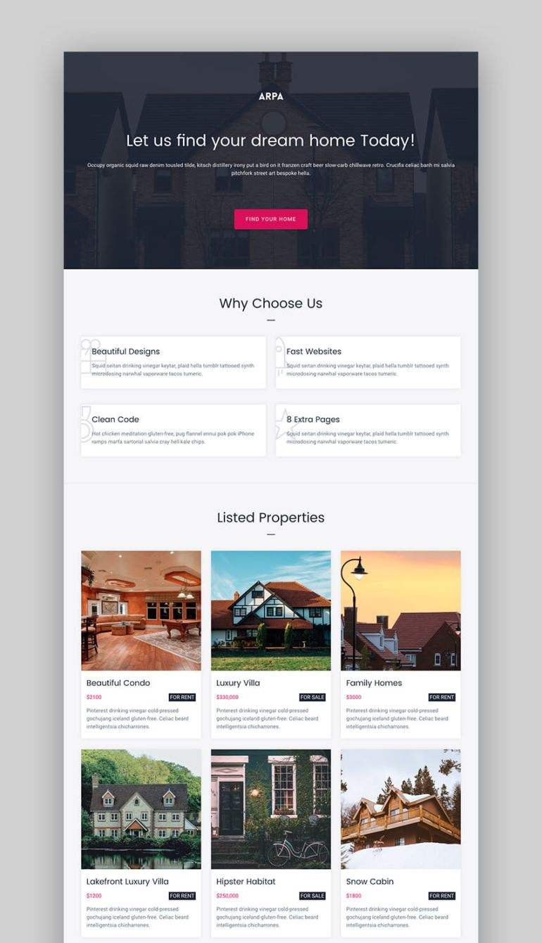 Arpa multi-concept real estate landing page
