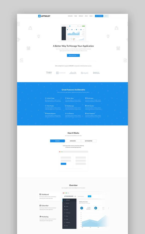 Appmust modern app landing page template
