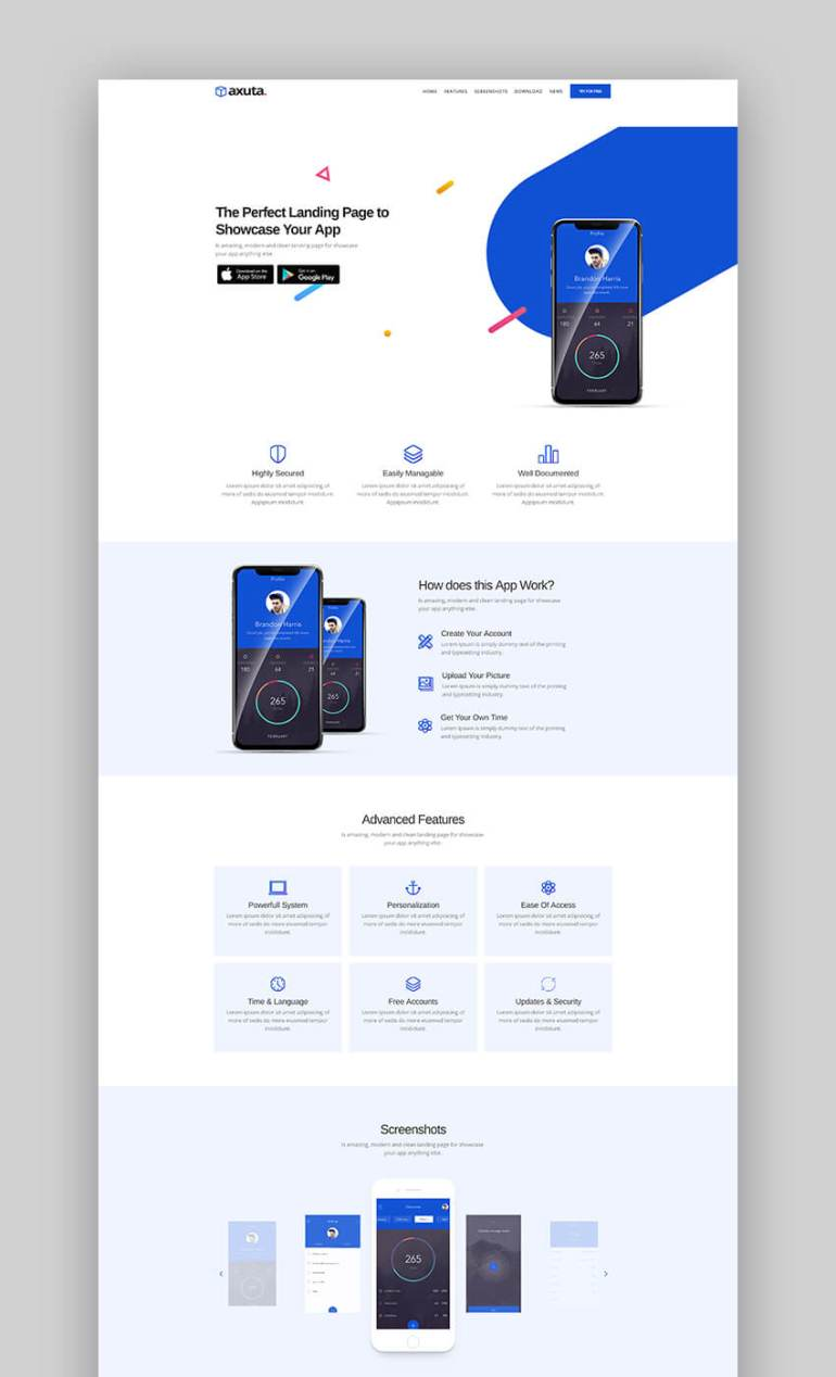 Axuta minimal template for app landing pages