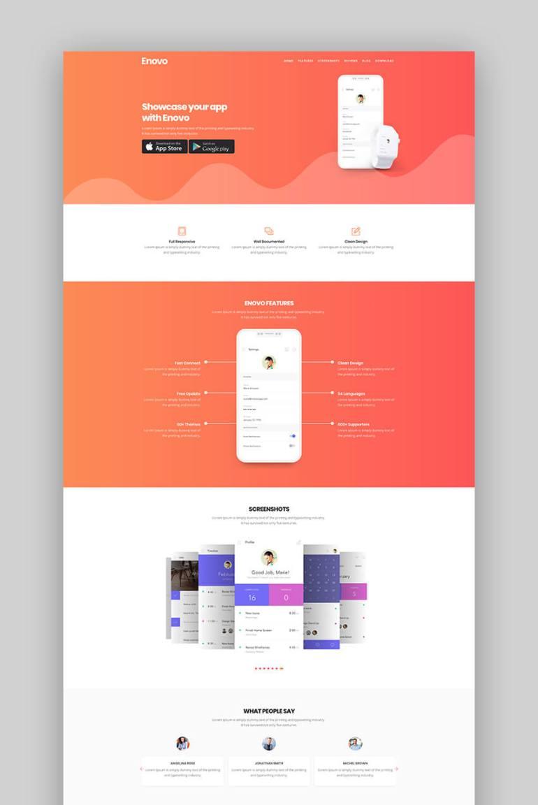 Enovo mobile app landing page template