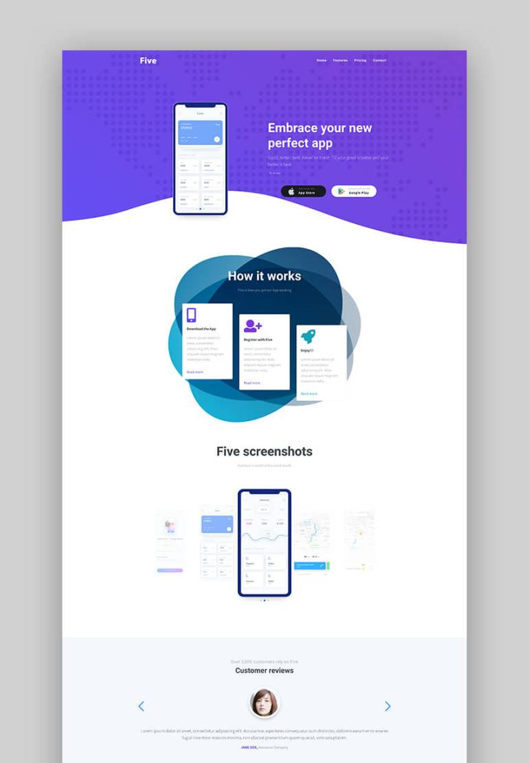 Five mobile app landing page template