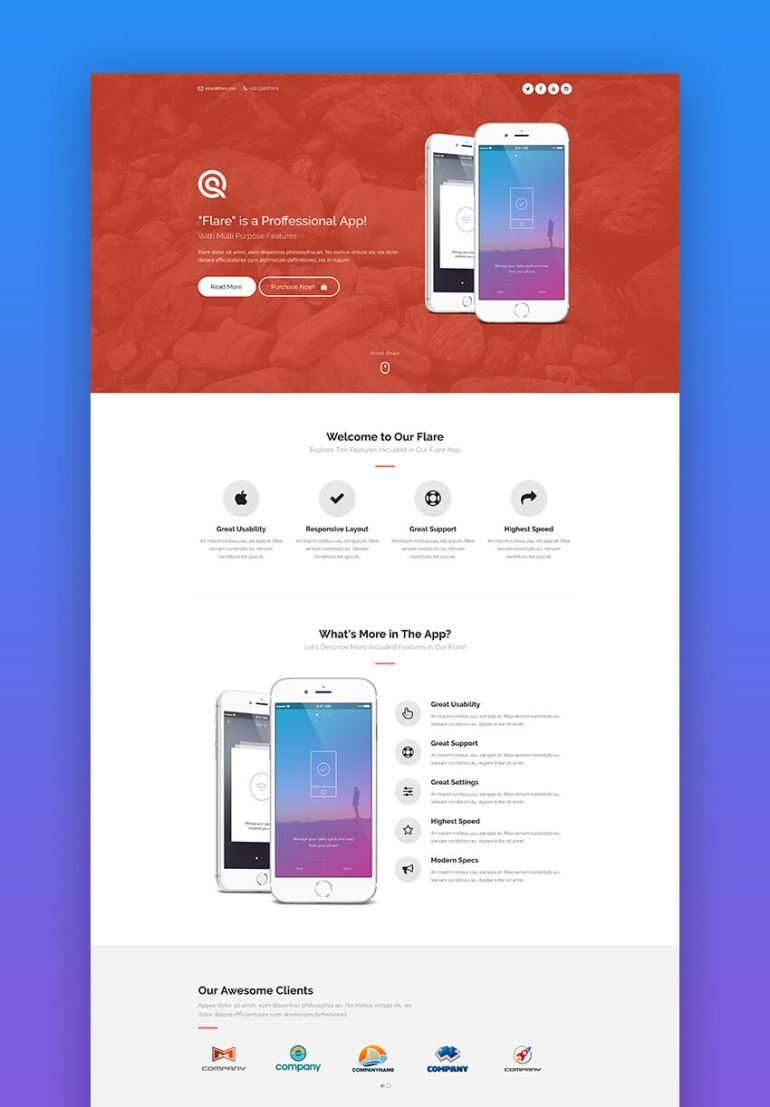 Flare bold app landing page template