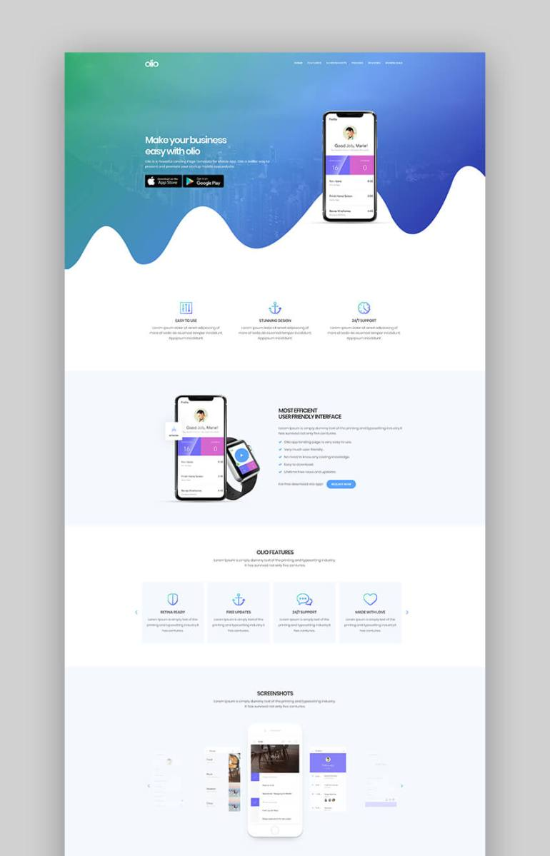 Olio beautiful app landing page template