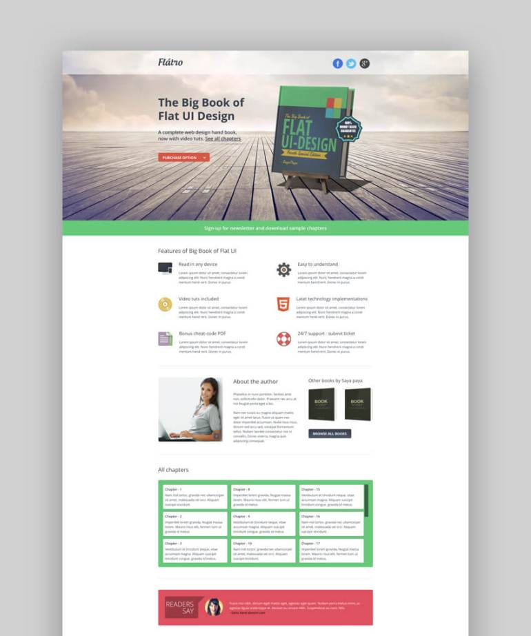 Flatro ebook landing page template