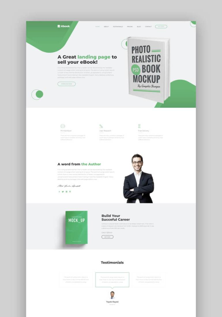 Ebook clean book landing page design