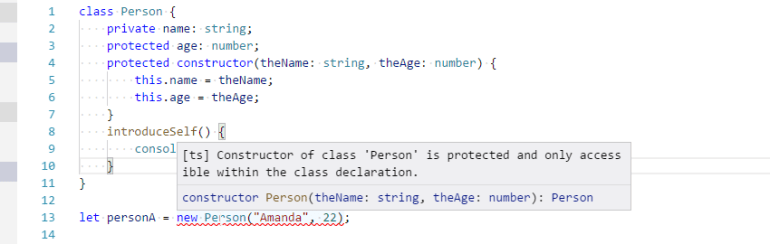 TypeScript protected constructor