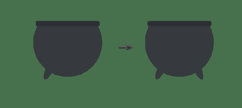 placing the cauldron legs
