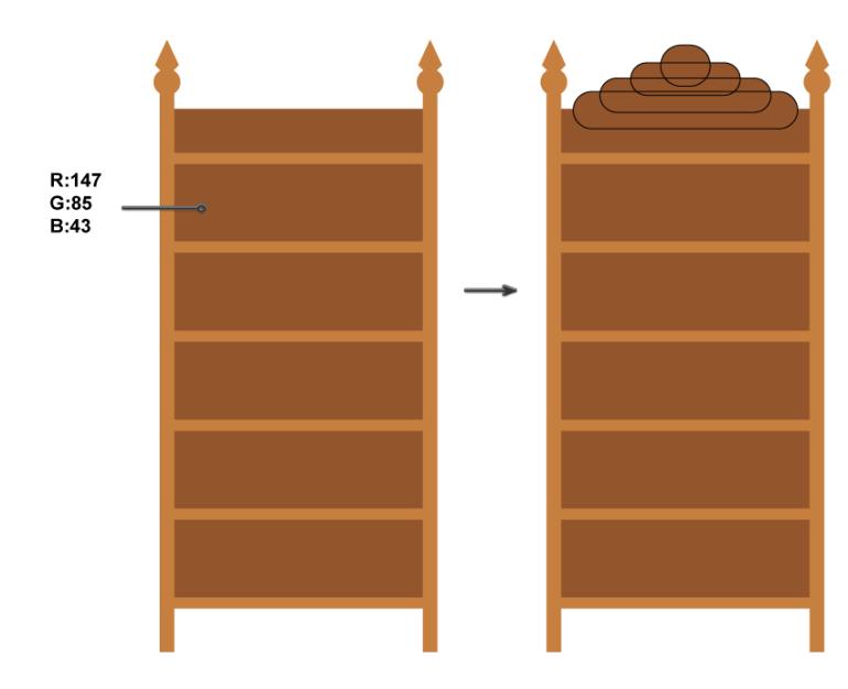 how to create the back of the bookshelf