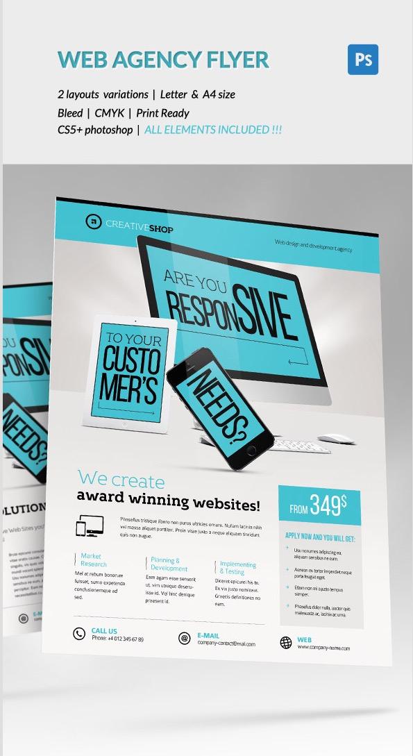 Volantino dell'agenzia di progettazione Web creativa