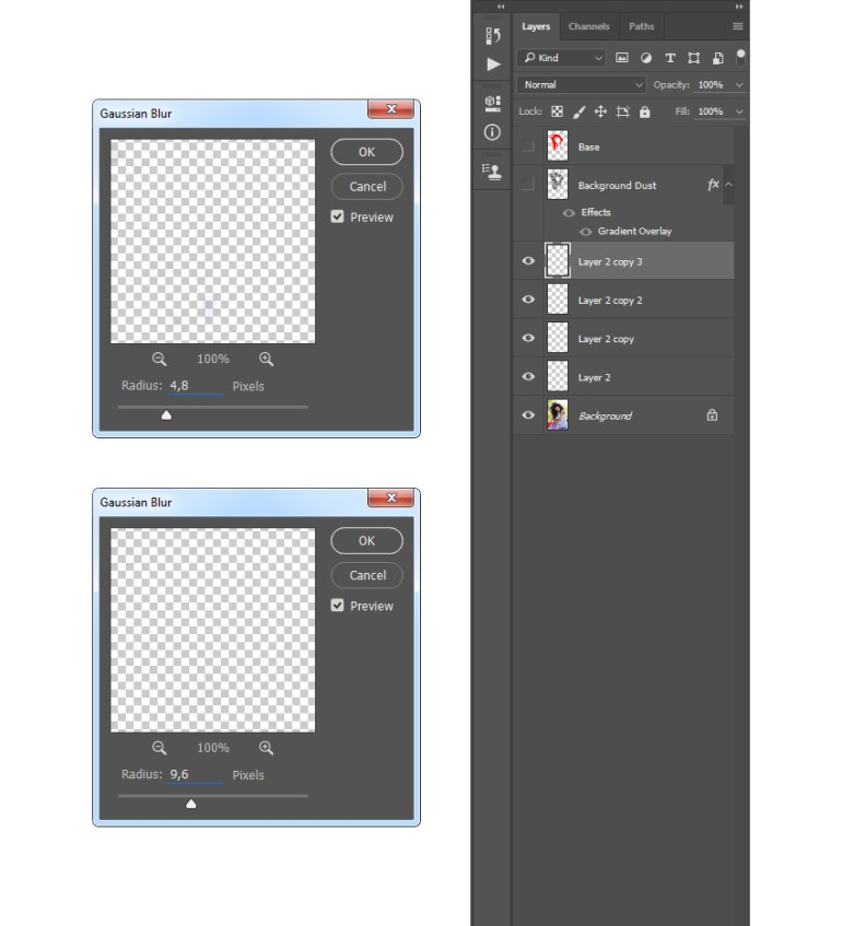 Adding gaussian blur filter to particles layers