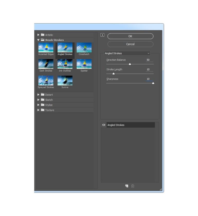 Adding the brush strokes angled strokes filter