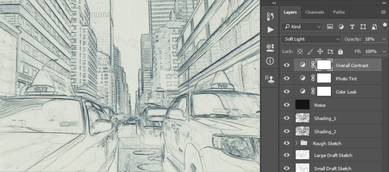 Changing overall contrast layer blending mode and opacity