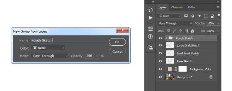 Creating new group from selected layers named Rough Sketch