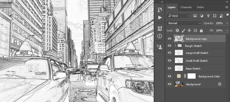 Stylizing and desaturating layer