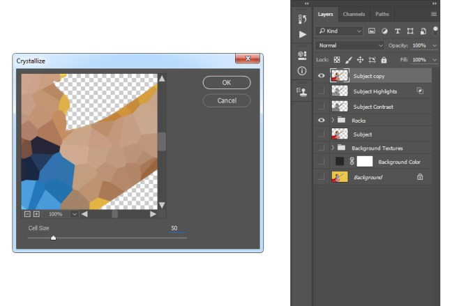 Agregar el filtro pixelate cristalizar a la capa de copia del sujeto