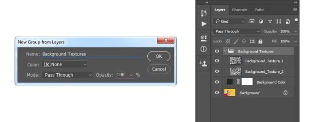Crear un grupo a partir de capas seleccionadas denominadas Texturas de fondo