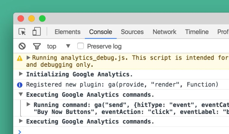 Google Analytics Log in DevTools Console