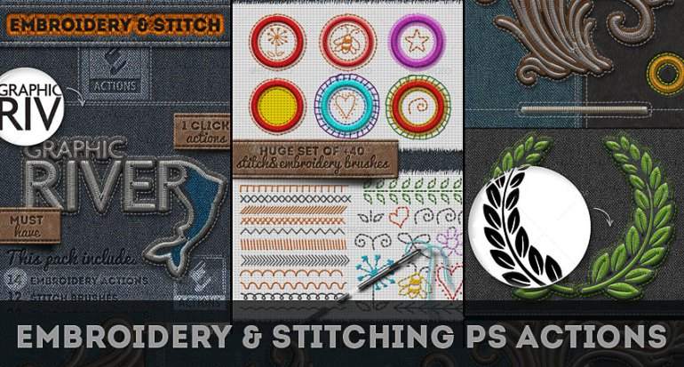 Embroidery and Stitching Photoshop Actions