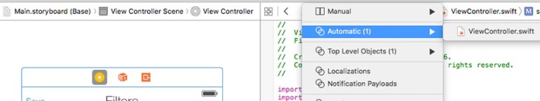 Find the controllers swift file in the right side of the Xcode window