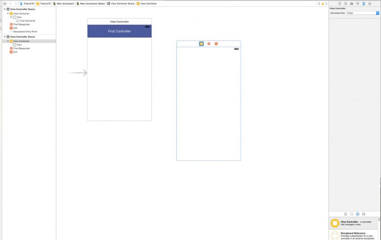 Storyboard showing new View Controller