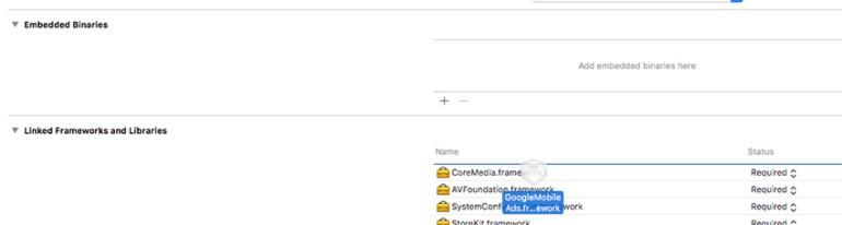Drag GoogleMobileAdsframework into your Xcode window