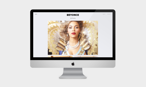 Beyonce website mock up