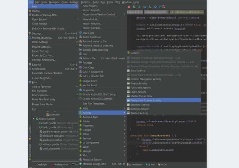 Navigation from file menu too Navigation Drawer Activity