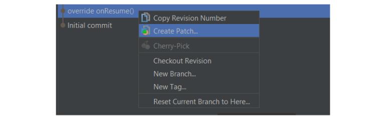 Commit menu