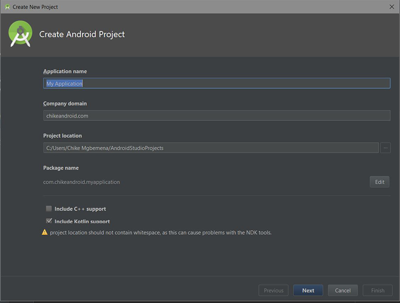 Create Android Project dialog