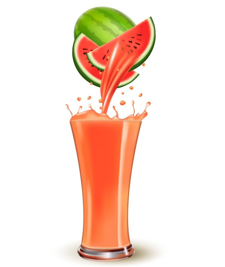 watermelon with watermelon slices poring juice into juice glass with splash vector gradient mesh