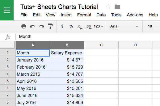 Highlighted columns in Google Sheets