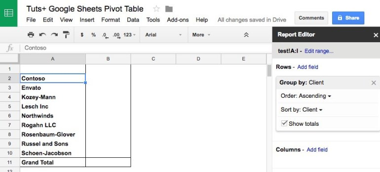Add as field in Google Sheets Pivot Table