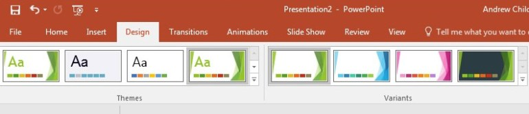 Themes and Variants on PowerPoint ribbon
