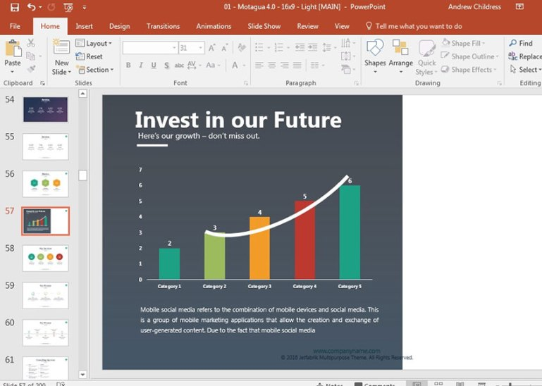 Persuasive Presentation Closing side with chart
