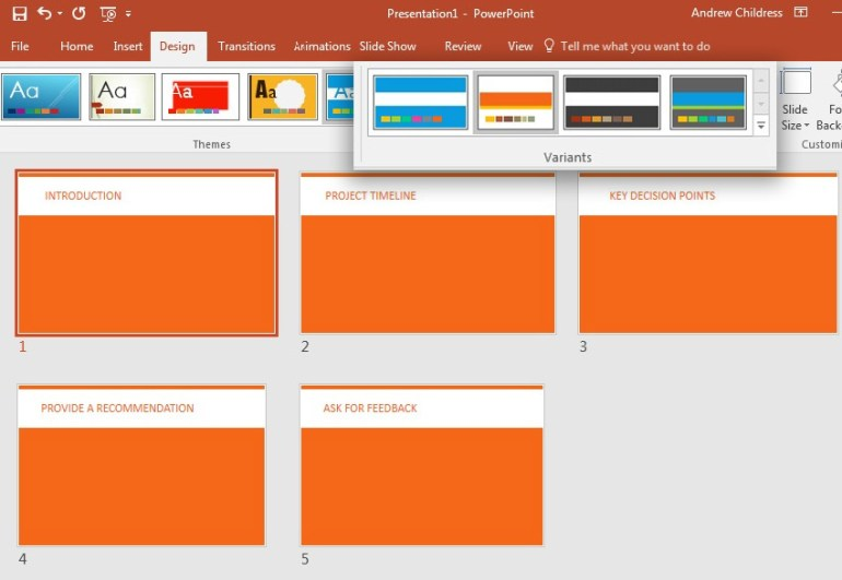 PowerPoint theme variant