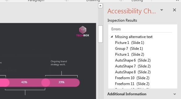 Check Accessibility Results shown in sidebar