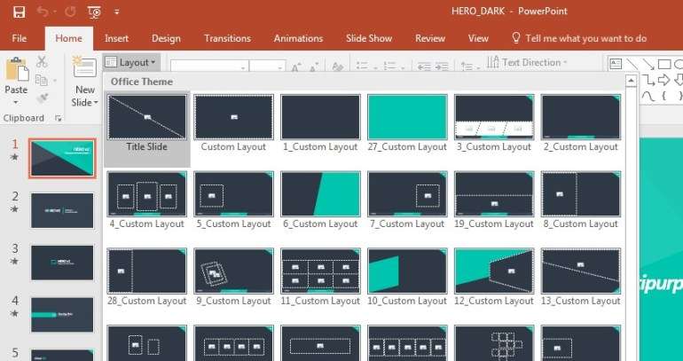 PowerPoint Layouts Selection Dropdown