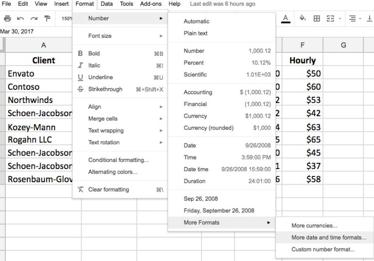Date formatting options