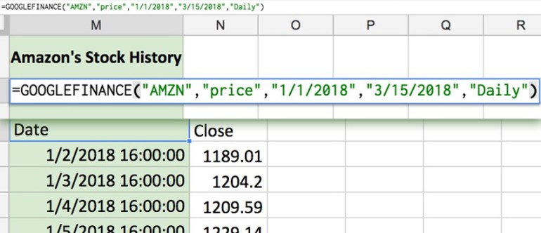 Google Finance function example