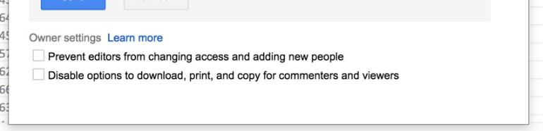 Owner Settings Google Sheets