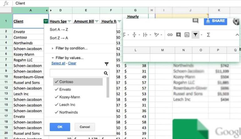 Filter Data in Google Sheets