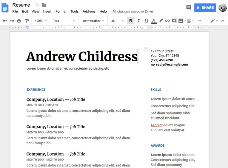 Google Docs Serif template