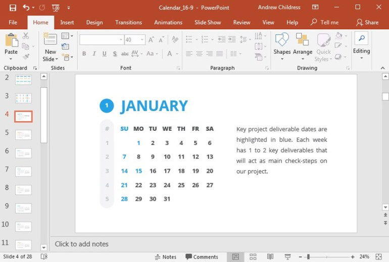 Light color Key Dates each month PowerPoint