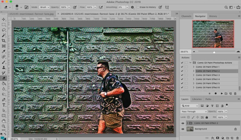 Action applied to image in Photoshop