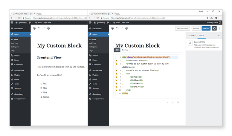 Convert to blocks and edit as HTML views